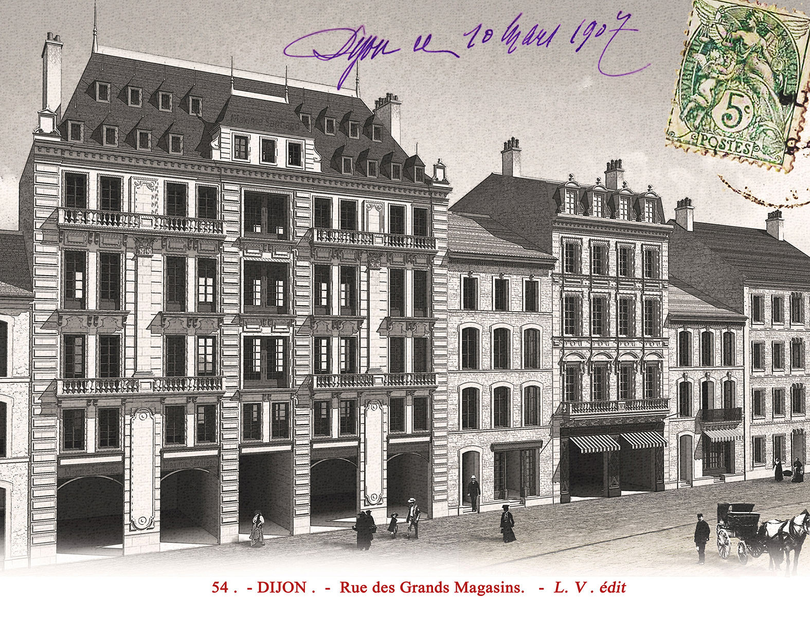 Carte postale fictive de grands magasins
